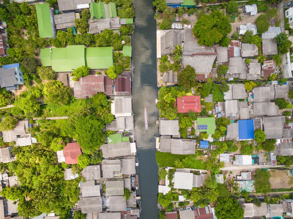 Unser Boot auf dem Fluss in den Kanälen von Bangkok