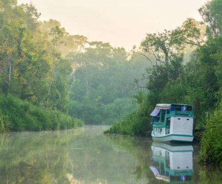 Sonnenaufgang auf dem Fluss in Borneo