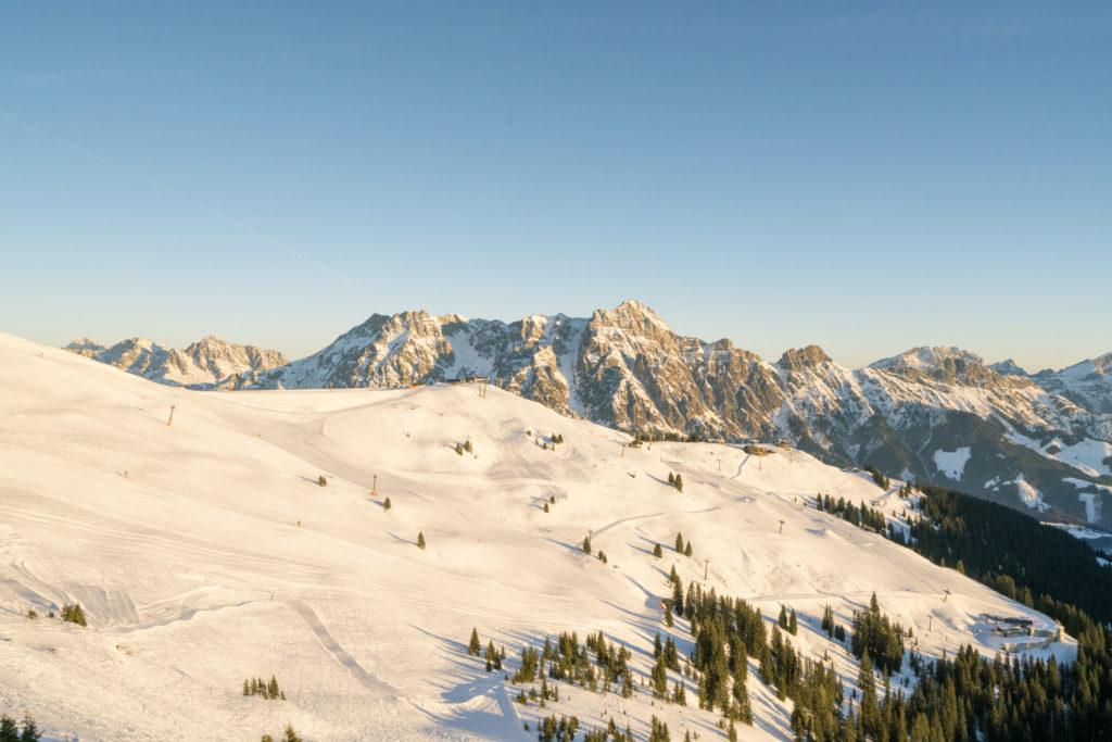 Skigebiet Leogang nach Sonnenaufgang