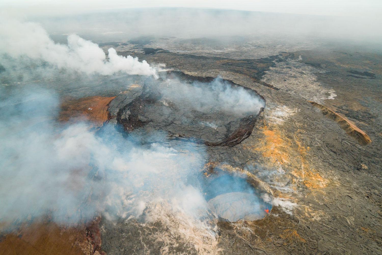 Vulkanlandschaft vom Helikopter aus