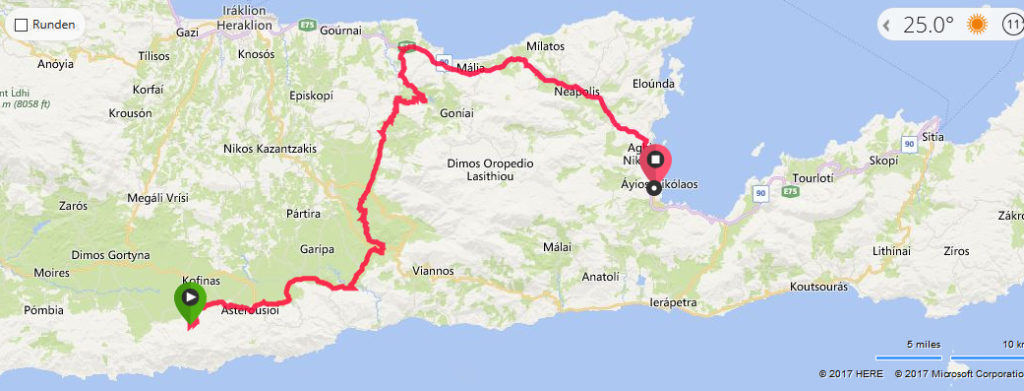 Die Route nach dem Mittagessen