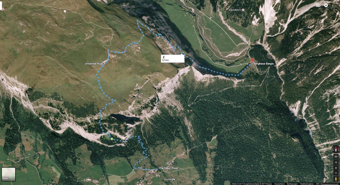 Wanderroute Klettersteig Pinut und zurück